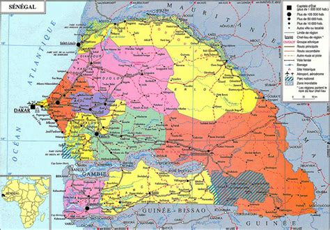 political map of senegal senegal political map
