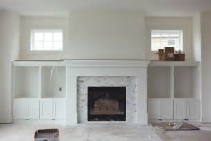 fireplace with marble subway tiles for the home