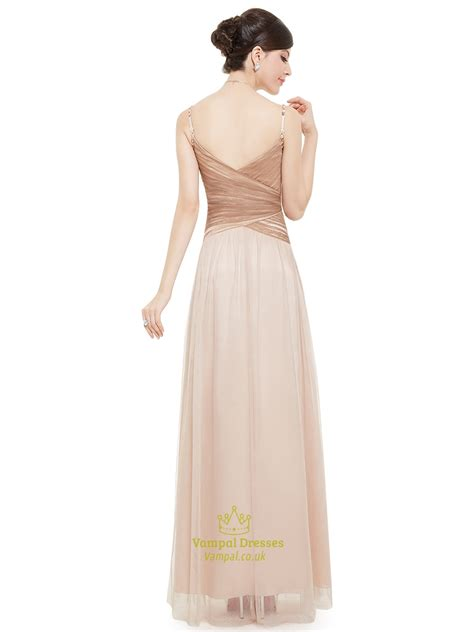 Spaghetti Tulle Dress chagne spaghetti v neck tulle prom dress with