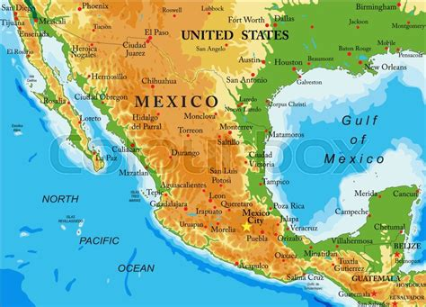 mexico physical map highly detailed physical map of mexico in vector format