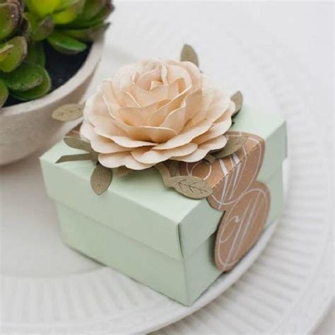 Green Giveaways Ideas - light green wedding favors candy box with ivory flowers candy box wedding fabor