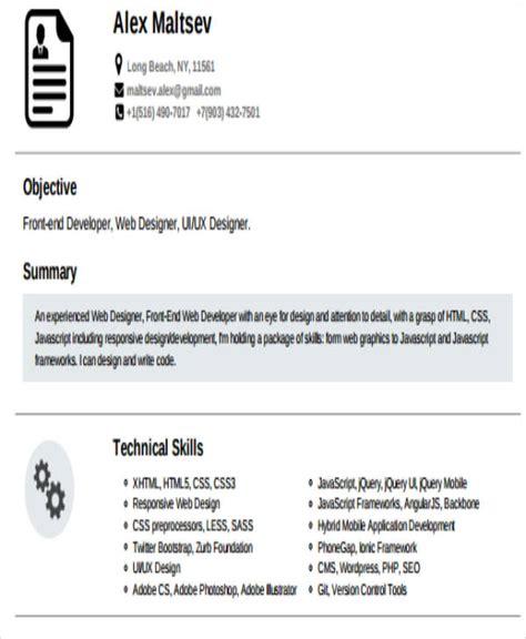 Front End Developer Resume by 7 Sle Front End Developer Resumes Sle Templates