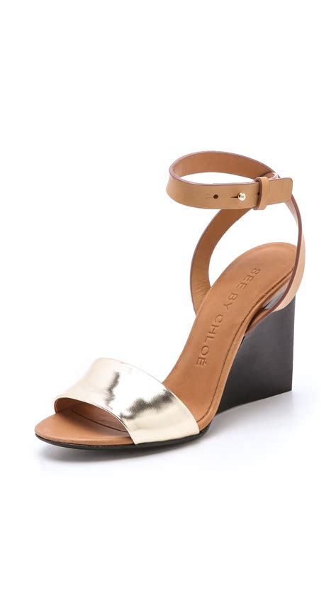 see by sandals see by chlo 233 metallic wedge sandals in gold lyst