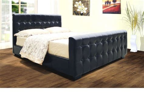 double cing bed faux leather bed frame in black brown double king homegenies