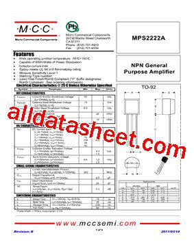 transistor mps2222a datasheet mps2222a datasheet pdf micro commercial components
