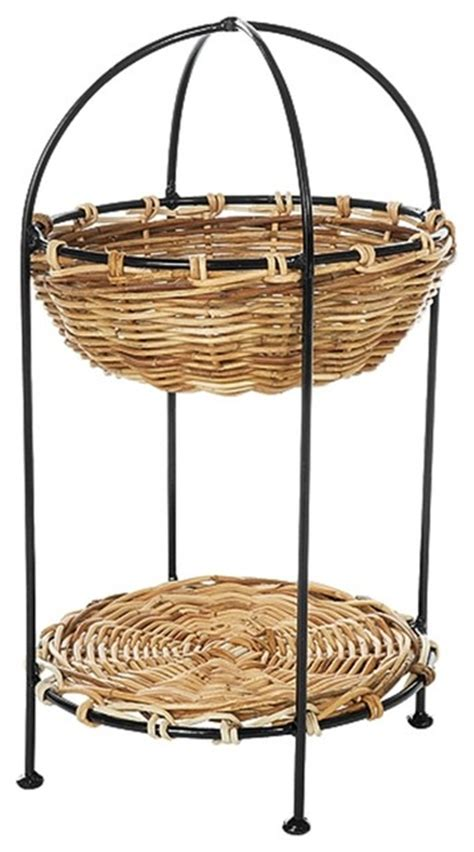 Wicker Stands Bathrooms by 2 Tier Rattan Basket Display Stand In N Bathroom Cabinets And Shelves