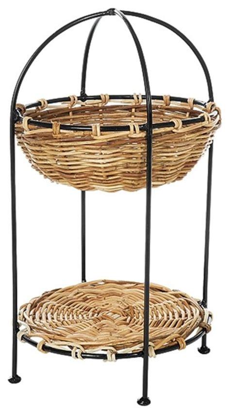 wicker stands bathrooms 2 tier round rattan basket display stand in n