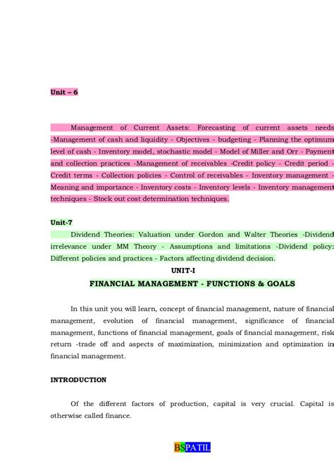 Mba Financial Management Scope by Financial Management Book Bec Doms Baglkot Mba