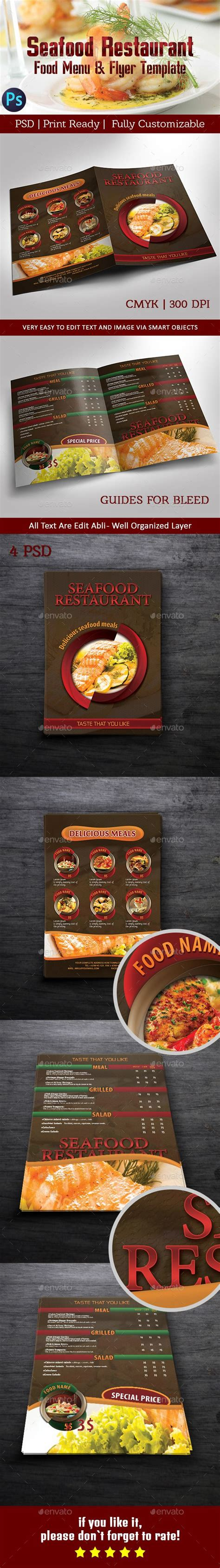 bi fold flyer template seafood restaurant food menu bi fold flyer template