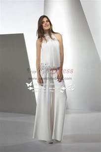 One Shoulder Draped Cocktail Dress Modern Elegant Jumpsuit Wedding Dresses With Glass Drill