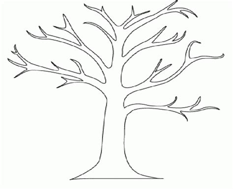 coloring page template printing printable tree without leaves coloring for kids tree