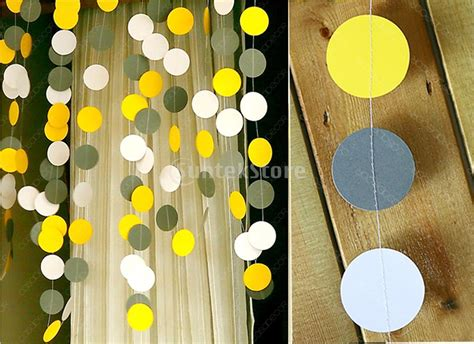 white and gray yellow circle paper garland bunting 13ft