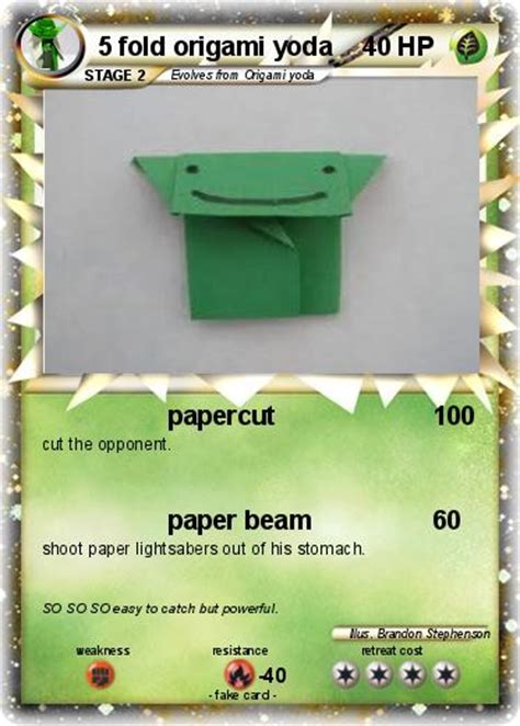 How To Fold A Card Out Of Paper - pok 233 mon 5 fold origami yoda papercut my card