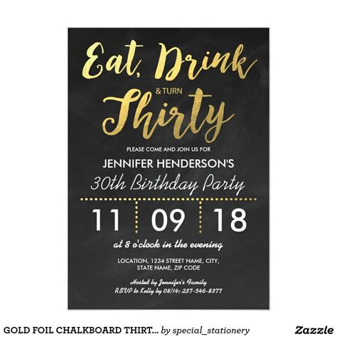 Gold Foil Chalkboard Thirty Birthday 30th Invitation 30th Bday Pinterest Party 30th Birthday Invitation Templates Free
