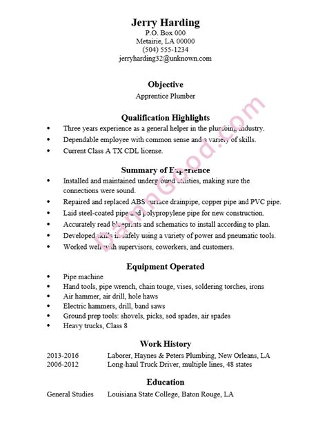 cv templates for apprenticeships resume sle apprentice plumber