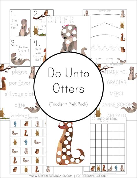 do unto otters a do unto otters preschool pack simply learning