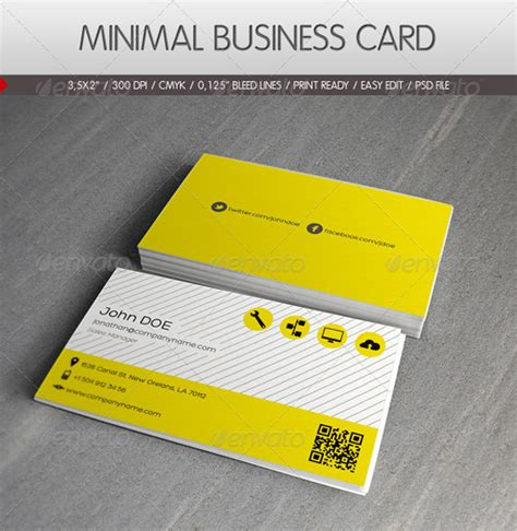 yellow business card template free 25 minimal business card templates