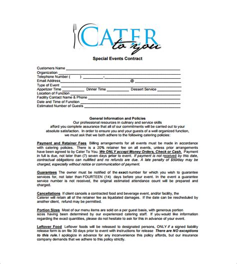 contract catering contract template