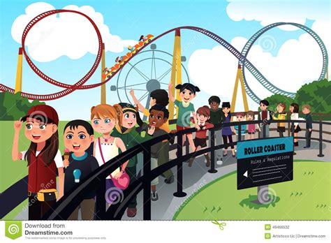 all the girls waiting in line for the bathroom children waiting in line for a roller coaster ride stock vector image 49466532