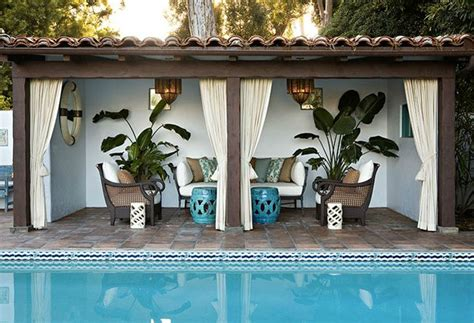 white curtains with teal accents cabana inspiration
