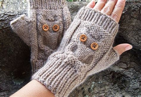 owl fingerless gloves knitting pattern owl knit fingerless mittens pdf pattern owl cable knit