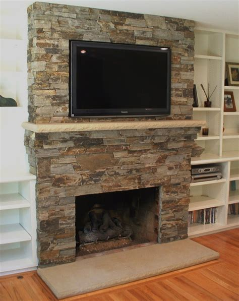 New Design: Stone Fireplace Surround with a Flatscreen TV
