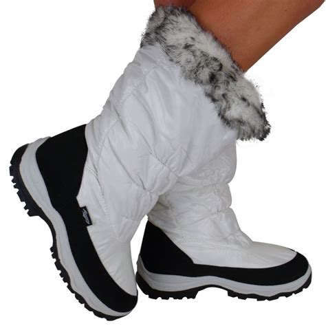 wide calf snow boots s1g womens white wide calf fur snow mucker winter