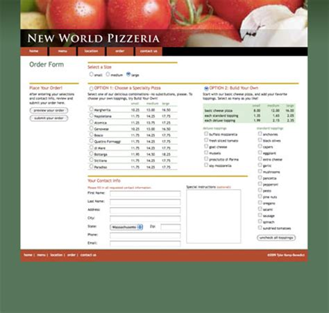 pizza order form template portfolio hardworkingtype kemp benedict
