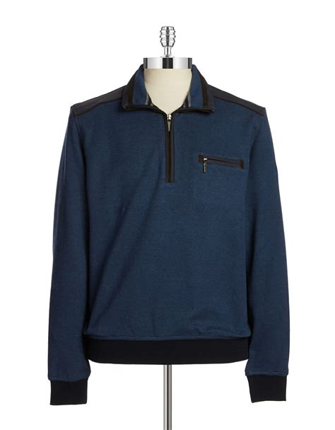 Blue Zip bugatti quarter zip sweater in blue for lyst