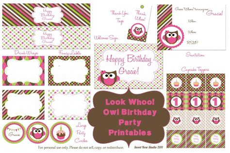printable owl party decorations owl birthday party free printables