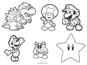 printable mario brothers coloring pages  kids