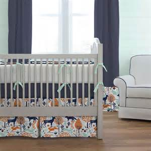 Discount Valances Navy And Orange Woodland Crib Bedding Carousel Designs