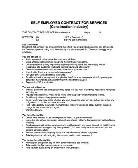 6 Sle Industry Contract Templates Sle Templates Self Employed Agreement Template