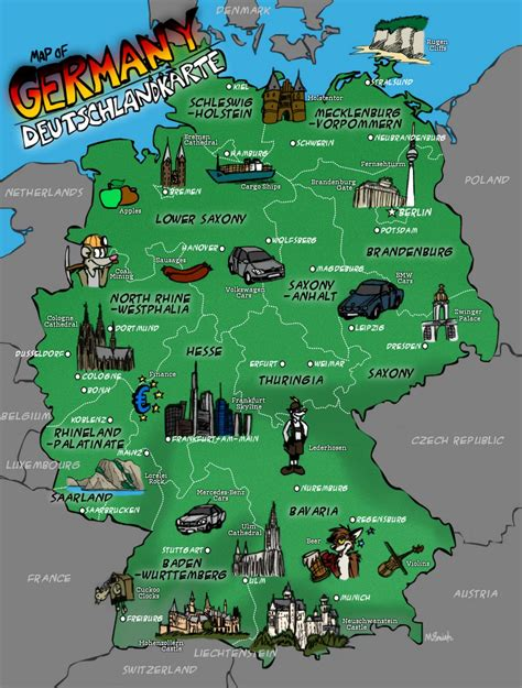 large map of large illustrated map of germany germany europe