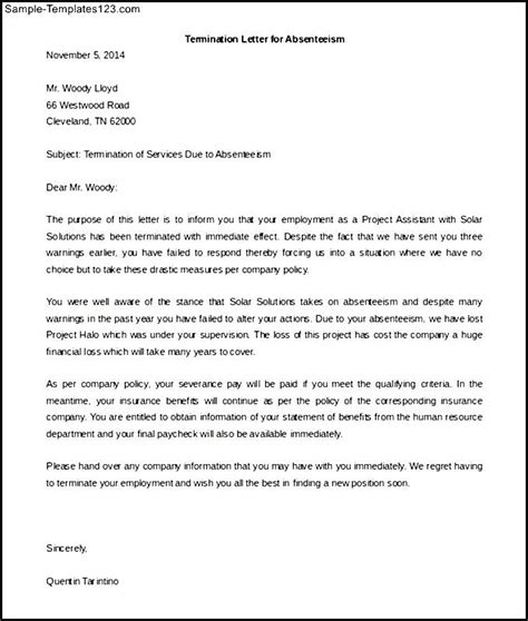 termination letter sle due to theft termination of service letter sle due to absenteeism
