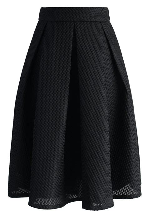 Dress Wafle black waffle pleated midi skirt skirt collection