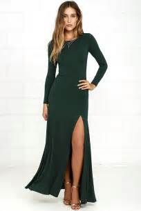 chic forest green dress maxi dress long sleeve dress