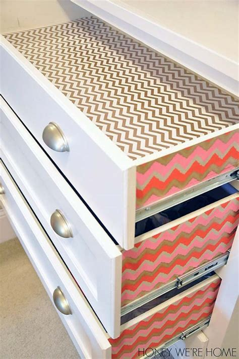 Pretty Shelf Liner by 28 Awesome Crafts To Make With Leftover Wrapping Paper