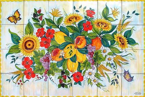 mosaico fiori pannello mosaico fiori e frutta praiano 120x80 cm