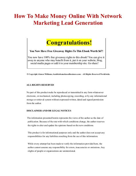 Make Money With Online Marketing - how to make money online with network marketing lead generation