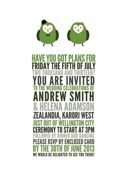 wedding invitation wording wedding invitations templates new zealand - Bird Wedding Invitations Nz