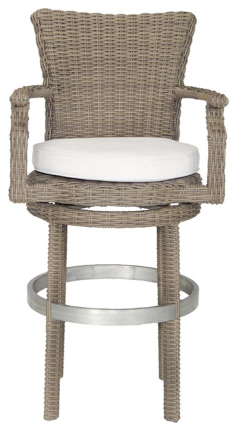 contemporary outdoor bar stools palisades swivel bar stool canvas taupe contemporary