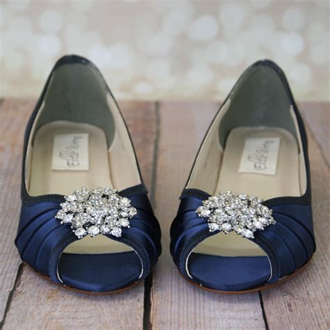 Chagne Wedge Wedding Shoes by Blue Wedding Shoes Navy Blue Shoes Custom Wedding Shoes