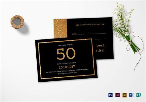 black and gold 50th birthday invitation design