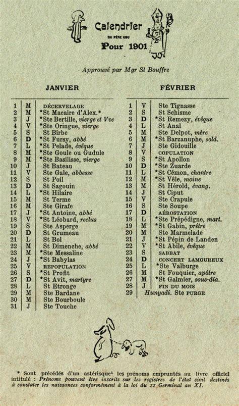 Calendario De 1901 Opiniones De Calendario Patafisico