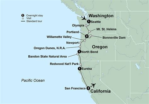 pacific northwest map usa driving tour seattle to san francisco lifehacked1st