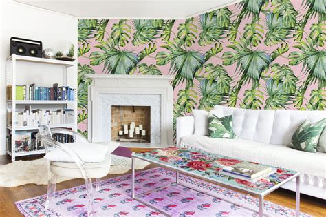 Stiker Kulkas Motif Bunga Shaby Cic pink jungle living room shabby chic flowers and plants wall murals stickers pixers