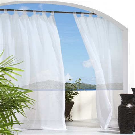 Outdoor Sheer Curtains Sheer White Tabbed Outdoor Curtain Dfohome