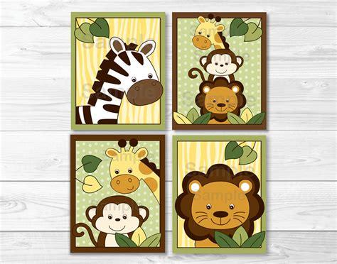Free Printable Animal Wall Art | safari jungle animal nursery wall art printable instant