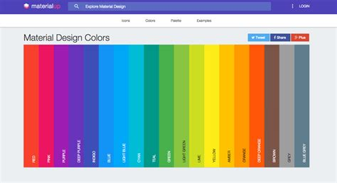 color material trendy web color palettes and material design color